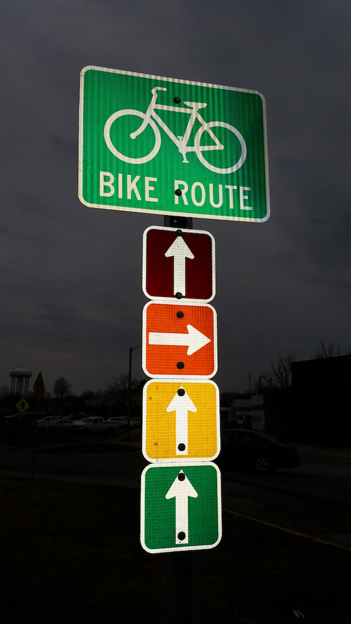 Bike route sign in downtown Huntington